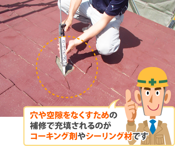 穴や空隙をなくすための補修で充填されるのがコーキング剤やシーリング材