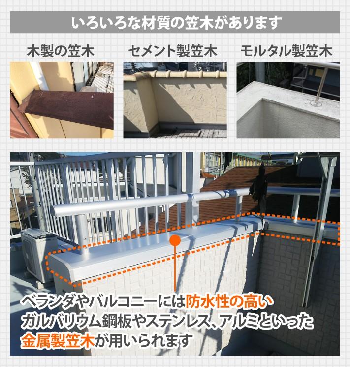 ベランダやバルコニーには防水性の高いガルバリウム鋼板やステンレス、アルミといった金属製笠木が用いられます