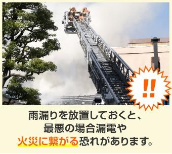 雨漏り放置は火災の原因に