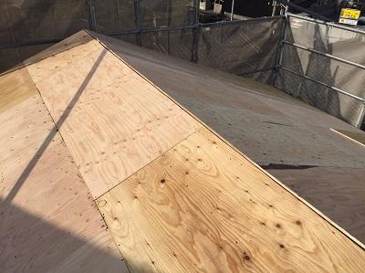 構造用合板施工完了 大屋根