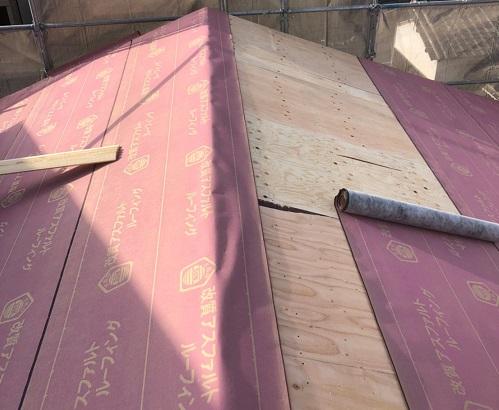 ルーフィング貼り 大屋根