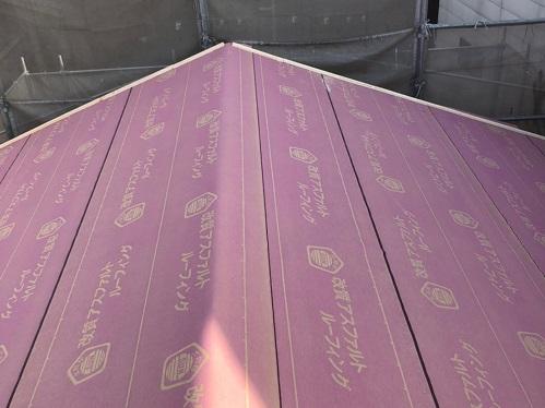 ルーフィング貼り完成 大屋根