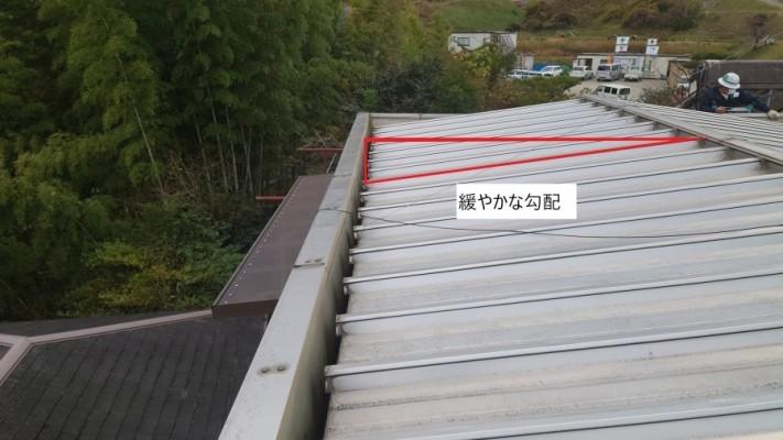 勾配が緩やかな瓦棒葺きの屋根