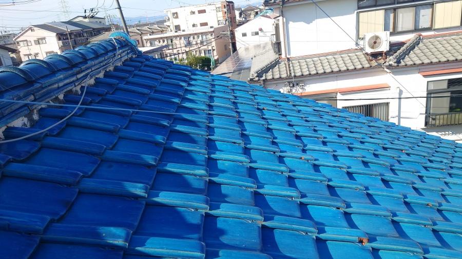 京都府城陽市にて面戸漆喰の剥がれと青緑瓦の瓦ズレの補修工事