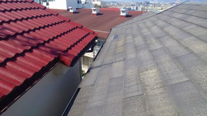 雨樋にズレ落ちたスレート屋根