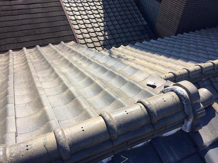 屋根葺き替え撤去 漆喰剥がれ