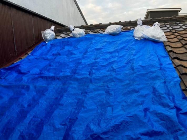 ブル―シートで養生した屋根