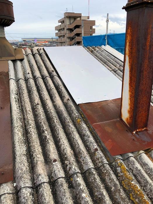煙突部板金水切り補修