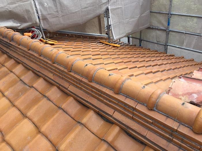 施工前 釉薬瓦 大屋根